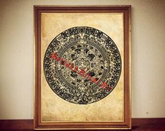 247# Aztec calendar print, Aztec calendar poster, Aztec illustration, magic poster, magic print, occult print, occult decor