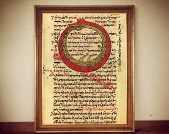 Ouroboros print, Alchemy snake symbol, alchemical illustration, gnostic ancient art, occult canvas poster, magick, esoteric home decor #354