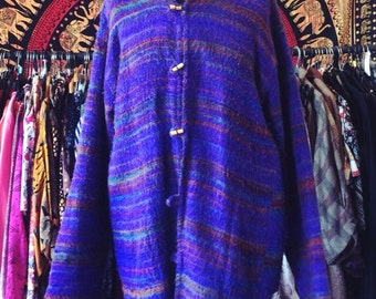 Multicoloured oversized hippy cardigan with toggle buttons