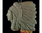 on sale BD02609# Stunning  Hand Carved American Indian Succor Creek  Jasper  Pendant Bead 1 Pcs