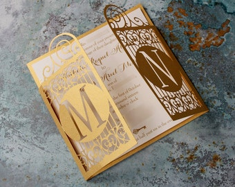 Gold Celtic Gate Laser Cut Wedding Invitation Great Gatsby Art Nouveau Style with Complimentary Fitted Envelopes and Personalisation