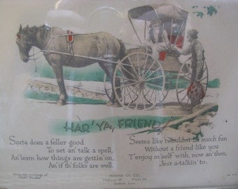 Vintage print of horse and buggy and old timers