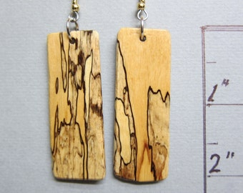 Unusual Spalted Tamarind Exotic Wood Long rectangularr Earrings  by ExoticwoodJewelryAnd