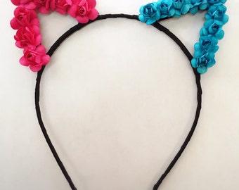 Harley Quinn pink blue flower kitty ears headband