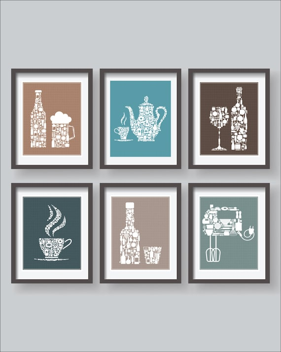 Set Kitchen Collections Decor Kitchen Poster Set Kitchen Icons Wine Themed Kitchen Decor Wine Kitchen Decor