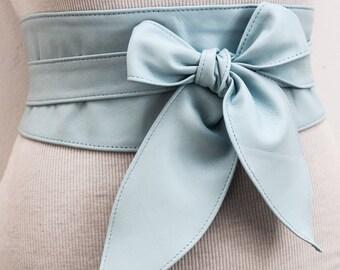 Baby Blue soft Leather Tulip Tie Obi Belt | Waist or Hip Belt | Handmade Leather Belt| Bridesmaid Belt | Wrap Sash Belt | Plus Size Belts