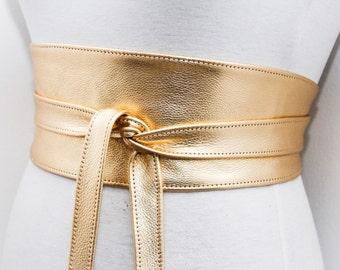 Gold Leather Obi Belt | Bridal Belt | Gold Sash Belt | Waist tie belt | Genuine Leather wrap Belt | Bridesmaid Belt | Waist Belt | Plus Size