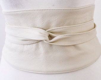 Cream Wide Leather Belt | Wide Corset Belt | Leather obi belt | Waist Belt | Petite to Plus size belts