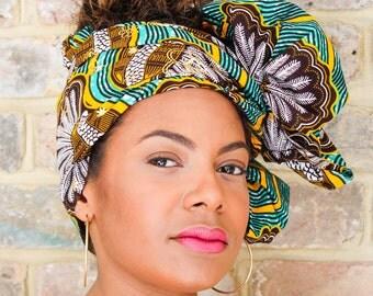 Turquoise Wax Print head wrap   African Wax print Head wrap   Print headscarf   African wax print Hair Tie   Printed Head scarf   Print 5