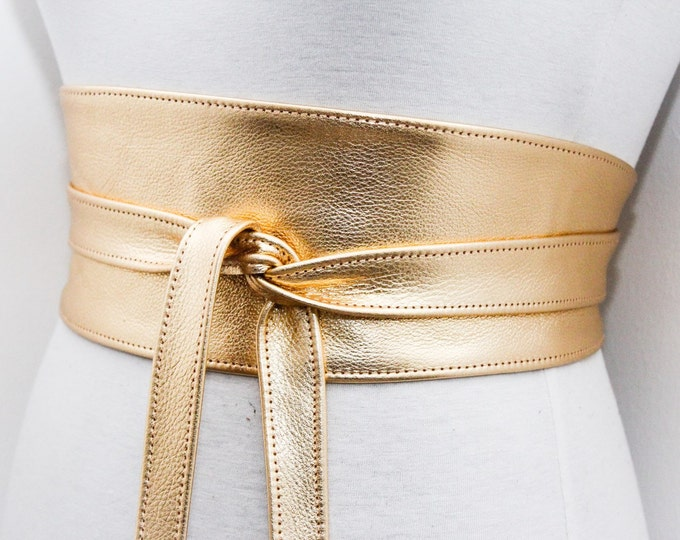 Featured listing image: Gold Leather Obi Belt | Bridal Belt | Gold Sash Belt | Waist tie belt | Genuine Leather wrap Belt | Bridesmaid Belt | Waist Belt | Plus Size