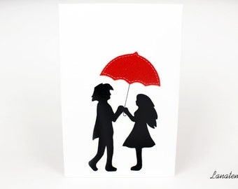 Lovers canvas painting, mixed canvas art, red umbrella, love painting