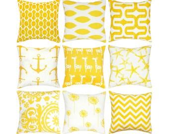 Yellow Decorative Pillow Cover.Throw Pillows.Yellow Toss Pillow.Yellow Nautical Pillows.Kids Pillow.Nursery Pillow.16x16.18x18