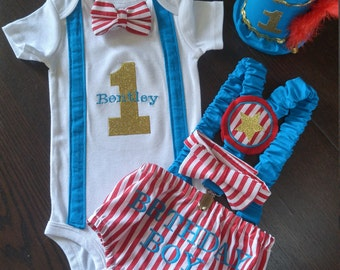 First Birthday Cake Smash Outfit Circus Ring Leader Red and White Stripe Turquoise Gold with Suspenders Birthday Boy Bodysuit Set Baby Boy