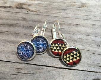 Blue Greek Earrings, Red Triangle Earrings, Leverback Earrings, Set of 2 earrings, cabochon earrings