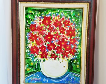 Original Signed Garmed Painting Red Flowers in a White Bowl