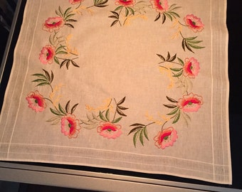 Stunning Linen Tablecloth Hand Embroidered