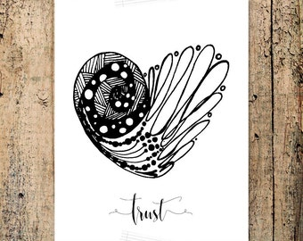 Trust Heart Affirmation Word Coloring Page, words, quote, hand lettered, hand drawn, zen art, affirmation card, printable