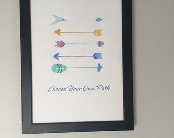 """Painting of Arrows with Quote """"Choose Your Own Path"""" Colourful tribal arrows. Inspirational Arrow Art. Arrow Painting for Baby's Room."""