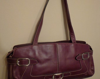 Franco Sarto Purple Leather Purse, Franco Sarto Italian Supple Leather Shoulder Bag with Buckle Detail