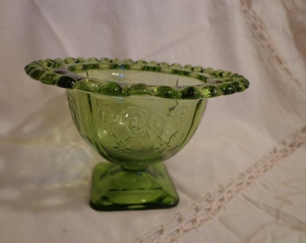 Vintage Green Glass Candy Dish, Reticulated Vintage Green Glass Dish, Green Glass Serving Dish
