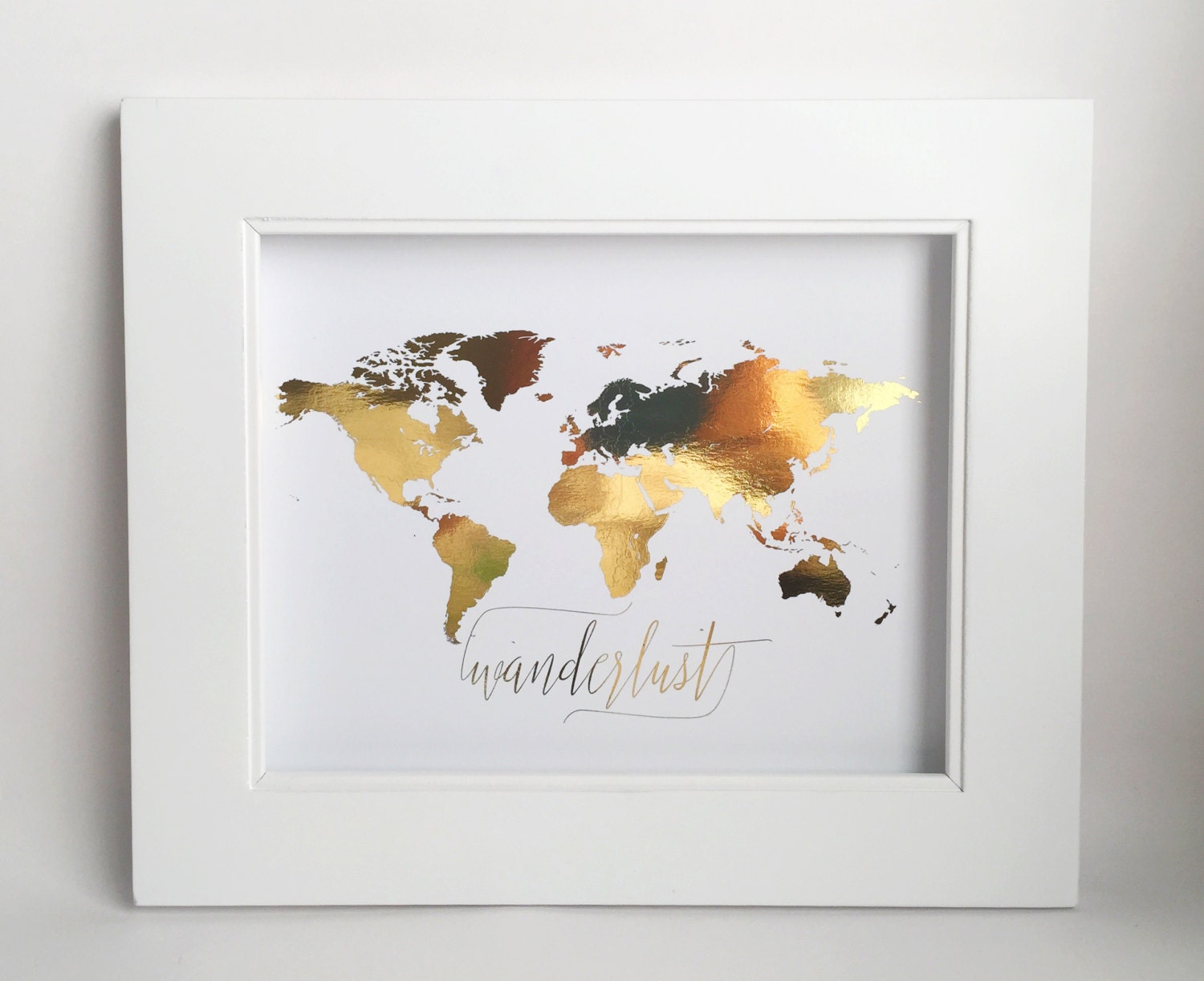 Wanderlust Wall Art, Real Gold Foil, World Map, Travel Map, Decor