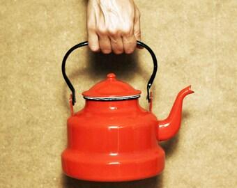 Vintage red enamel Kettle, home decor, kitchen decor, red enamel teapot, vintage red kettle.
