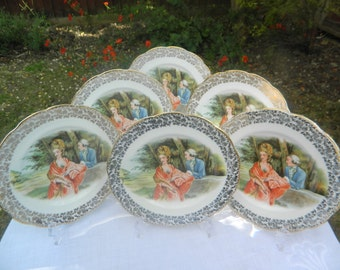 Antique Imperial China 22 carat gold Tea/Side Plates x 6