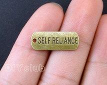 20pcs of Antique Bronze tone Self Reliance charms pendant 21x8mm