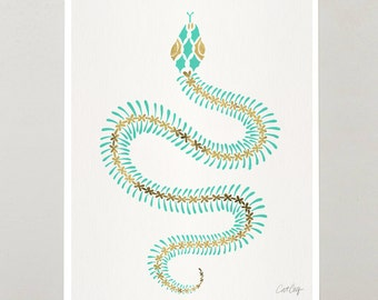 "Serpent Skeleton – Signed Acrylic Painting Art Print by CatCoq. Artwork Printed on 8.5""x11"" High-Quality Archival Epson Paper. Snake, Bones"