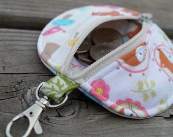 Ear bud Pouch - Ear bud Case - Earbud Holder - Coin Purse - Zipper Pouch - Fox - Woodland - Pink - Blue - Party Favor