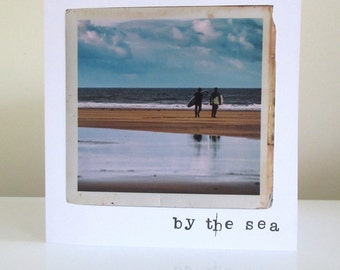 By the sea, vintage photography greetings card