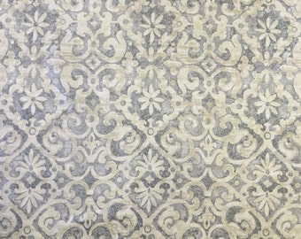 Light Grey and Taupe Damask - Upholstery Fabric by the Yard