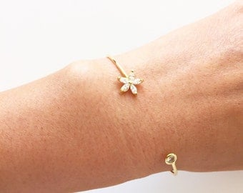 Crystal Flower Pave Accent Cuff Bracelet - Available in Gold
