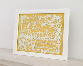 Christening or New Born Baby Gift Papercut - Personalised