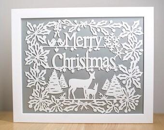 Merry christmas Papercut Template - DIY