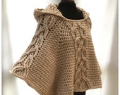 Milena Twist Cable Hooded Poncho - Crochet PDF Pattern