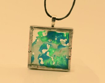 Blue, White & Green Melted Crayon Glass Pendant