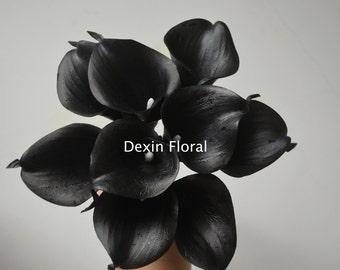 Black Calla Lilies Centerpieces Black Real Touch Flowers Silk Wedding Bouquets, Centerpieces, Wedding Decorations, 9pcs/set