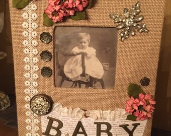 PRICE REDUCED - Burlap Baby girl Photo Album - Holds 30 - 4x6 photos