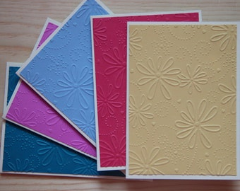 5 Embossed Greeting Cards.  Blank Note Card Set.  Flower Greeting Cards.  Embossed Flower Card Set.  Handmade Greeting Cards.