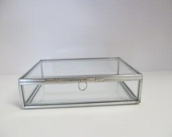 4 x 6 Glass and Zinc Box,  Photo Box, Keepsake Box, Memory Box