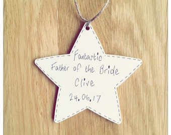 Personalised Wooden Star Plaque Wedding Favour Thank you gift for Page Boy ~ Best Man ~ Usher Any text Any colour
