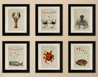Set of 6 Mounted Art Prints on old antique book page - Sea Creatures, Lobster, Octopus, Vintage Wall Art Print Encyclopaedia Dictionary Page