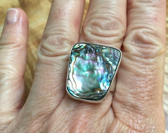 Boho Abalone and sterling ring