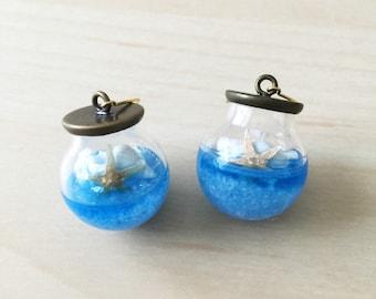 Summer aquarium starfish shell glass orb earrings