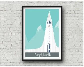 Reykjavik Hallgrímskirkja Art Print, Iceland design, A4, 8 x 10 inch