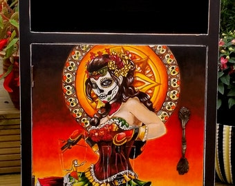 Mexican Day of the Dead Hand Painted Vintage Wooden Cabinet