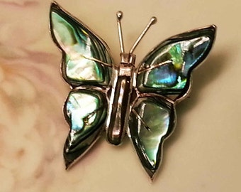 Vintage Abalone Butterfly Mexico Sterling Silver .925  Brooch Pin 4.7 Grams