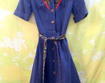 Vintage 1950s Blue Dress Size S