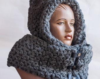 Oversized scarf, Huge Scarf,  Great Scarf,Hooded Scarf. Long Scarf. infinity hood. Wool Scarf. Chunky Scarf. Scoodie Scarf. LoveKnittings